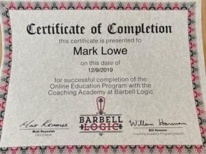 Barbell Logic Coaching Academy - Mark Lowe