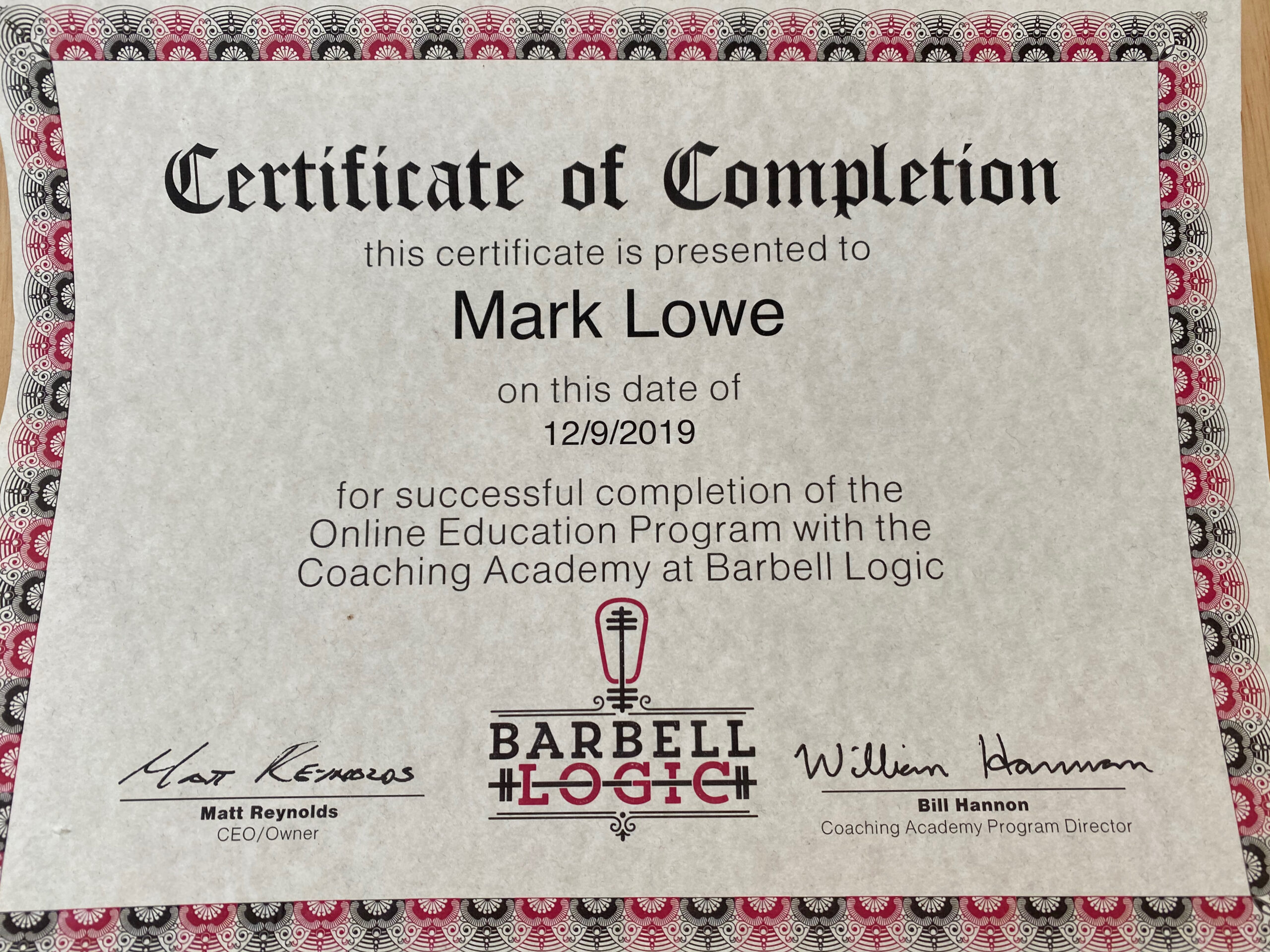 Barbell Logic Coaching Academy - Mark Lowe